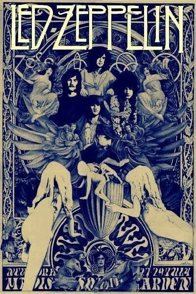 Old poster of Led Zeppelin concert at Madison Square Garden in New York in July 1973. Aspects of the poster art are reminiscent of the 1973 Houses of the Holy album cover, and Led Zeppelin II cover.