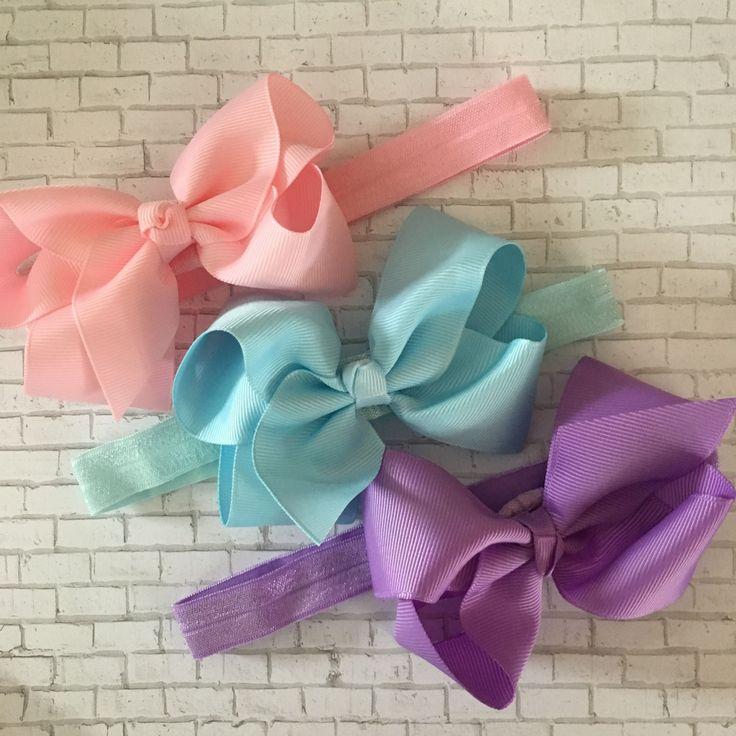 "4"" Boutique Bow Headbands, Elastic Headband, Headband, Hair Accessories, Baby Headband, Toddler, Girls, Hair Bow, Pink, Blue, Purple, Bow by PlayAllDayDesigns on Etsy"
