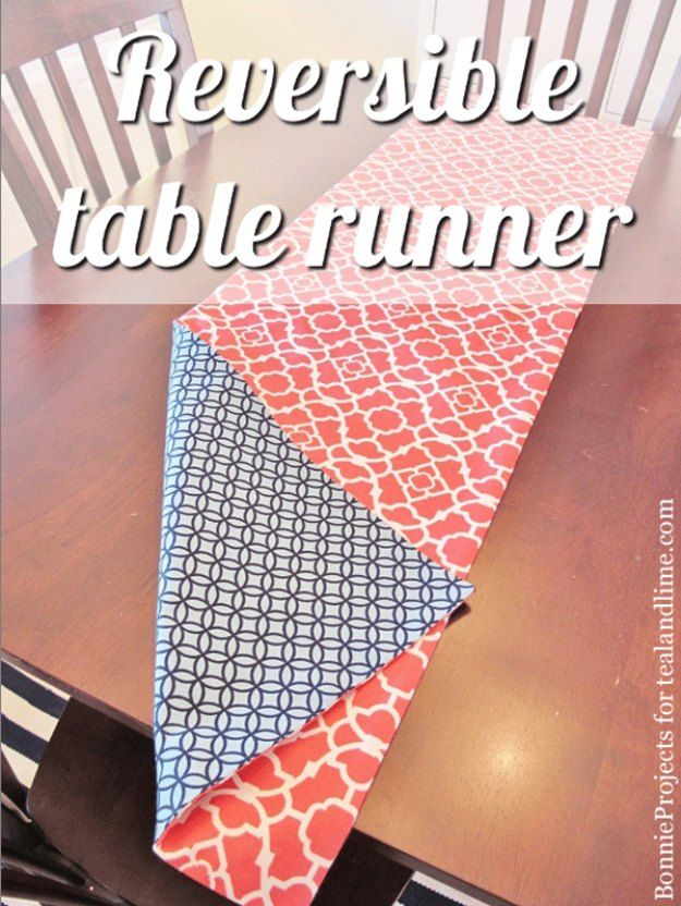 Sewing Projects for The Home - Reversible Table Runner - Free DIY Sewing Patterns, Easy Ideas and Tutorials for Curtains, Upholstery, Napkins, Pillows and Decor http://diyjoy.com/sewing-projects-for-the-home