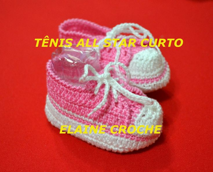 Vídeo aula mostrando a confecção do Tênis Bebê All Star em crochê cano curto - da Professora Elaine. A pioneira no ensino do Crochê On Line. Visite www.elain...