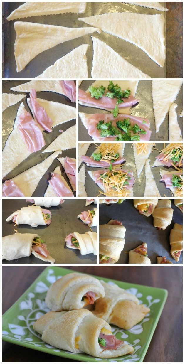 Broccoli Hams, Hams And Cheese, Snacks Idea, Cheddar Cheese, Crescents ...