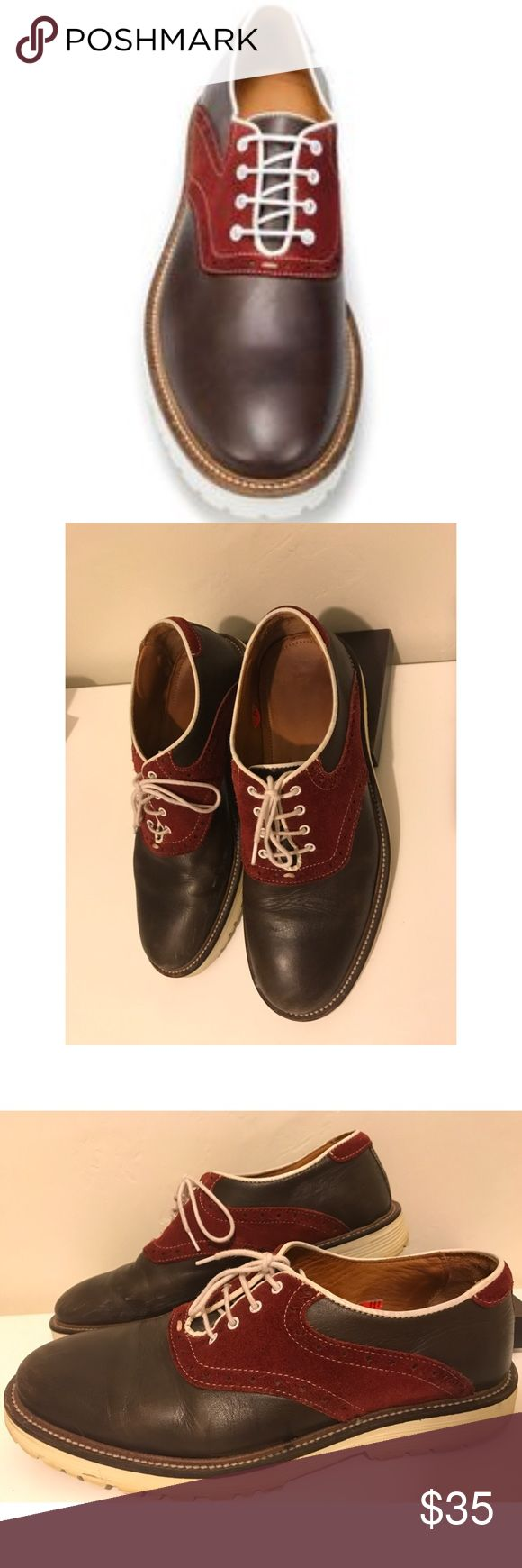 Zara Man Combo Red Suede & Brown Leather Oxfords Worn a handful of times Zara Man Oxfords. High end red Suede and real leather combo. Size 40 Euro, 7 US. Made in Portugal. Minor scuffs on the toe and the inside of the right shoe, as pictured. Priced accordingly. Zara Shoes Oxfords & Derbys