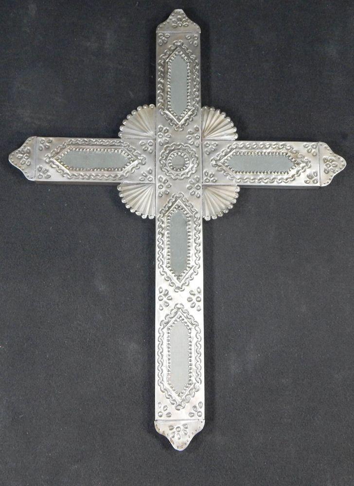 Mexican Tin Cross Wall Hanging Handmade Folk Art Mirror