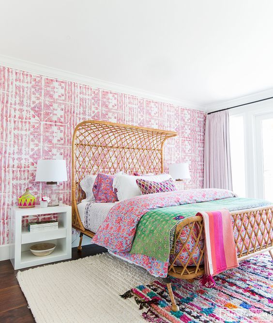 rattan headboard bedroom ideas