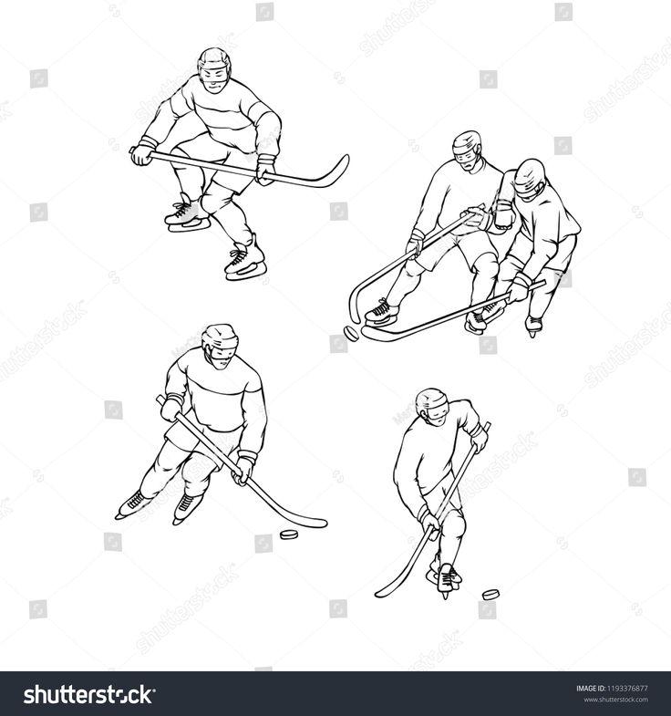Vector Set Hockey Player In Sports Uniform Black White Outline Illustration Vintage Sportsmans Motion Wit Outline Illustration Different Races Abstract Design