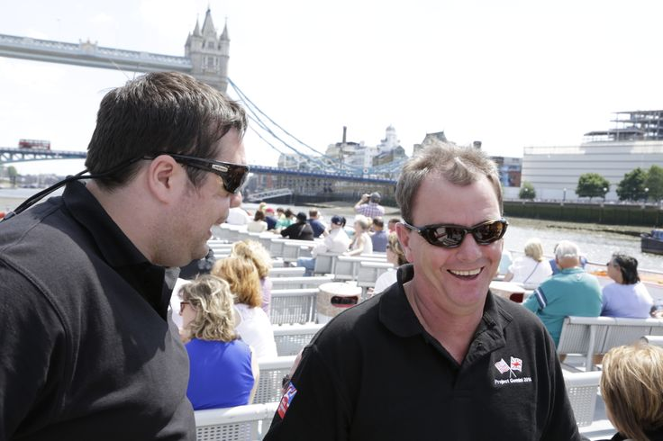 Blind veteran Simon Brown from the UK and a friend went on a boat tour in London as part of the Project Gemini exchange with the US Blinded Veterans Association. They are pictured here passing by Tower Bridge. Photo credit: blind veteran Chris Nowell