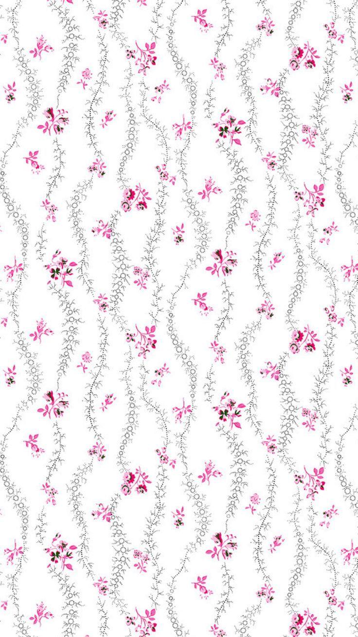 Pink grey mini floral flowers vines iphone wallpaper phone