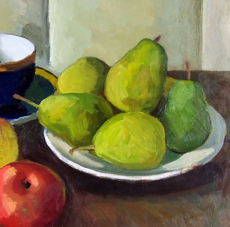 MY OIL STILL-LIFE  I HAVE PAINTED, APPLES and PEARS,  46x55cm (18x21.5in) BY VLADIMIR TITOV,  OIL ON BOARD, SIGNED, FRAMED.