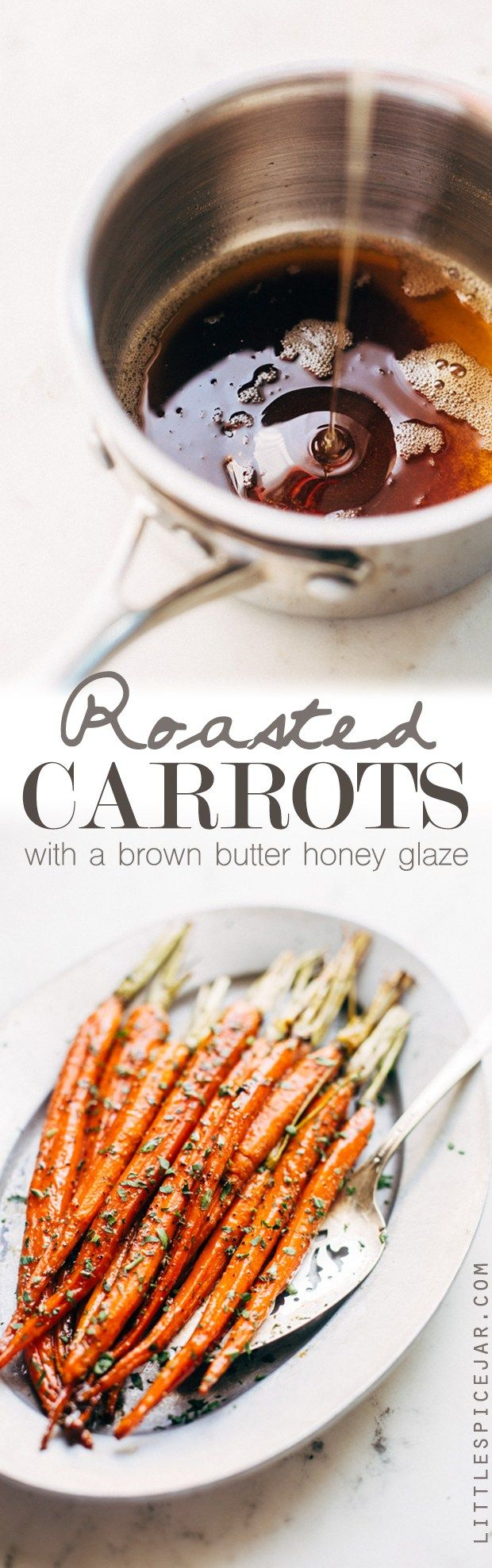 Brown Butter Honey Glazed Carrots - they might sound difficult but this is the easiest side dish! #brownbutter #honeyglazedcarrots #glazedcarrots   Littlespicejar.com