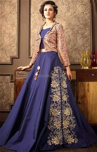 8b2ea7180b6175 Get This Decked Peach-Blue #Princess Shaped #Designer #Jacket Type #Dress.  This Skirt Type #Printed #Suit Has Shirt Type Neckline, Full Sleeves, ...