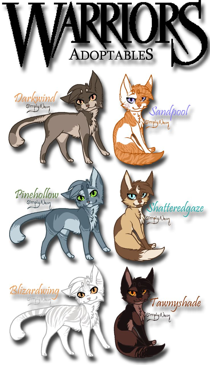 Warrior Cat Adoptables 1/4 by BrizzAdoptsXX.deviantart.com on @deviantART  i call shatteredgaze