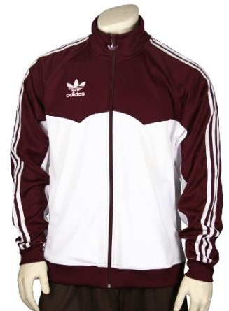 Adidas Men`s Lightweight Track, Warmup Jacket, Maroon and White $34.95