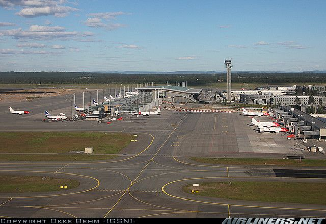 Oslo Gardermoen Airport, located at Ullensaker, Akershus - 45 km. north for Oslo.