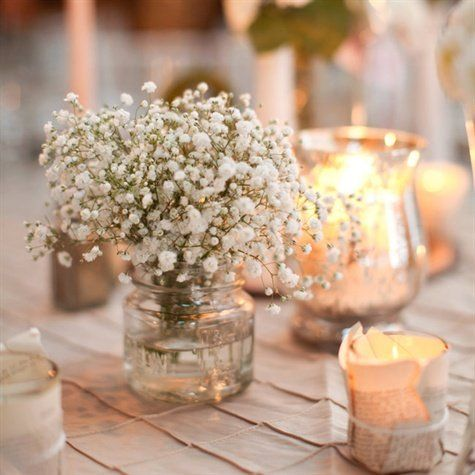 Baby's Breath and Burlap: Baby's Breath Centerpieces