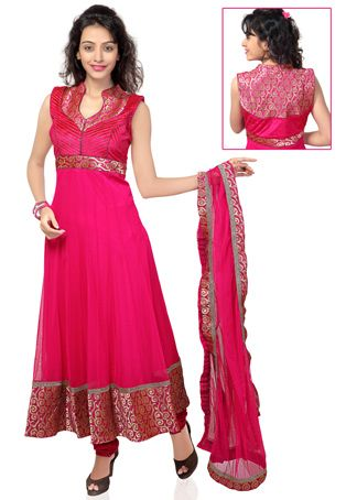 Utsav Fashion : fuschia-net-readymade-anarkali-churidar-kameez