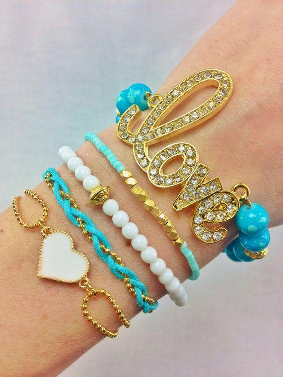 Love Teal Bracelet Stack Set, #bracelets, #stacked, #heart, #jewelry, #armcandy, #love, #teal