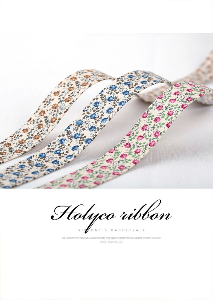 """Petite Flower Patterns Cotton Fabric Ribbon in Three Colors / 3/8""""(10mm), 1""""(25mm), 1.5""""(40mm) / made in Korea by HOLYCO on Etsy"""