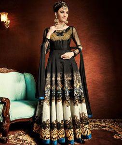 Black Silk Ankle Length Anarkali Suit 74135