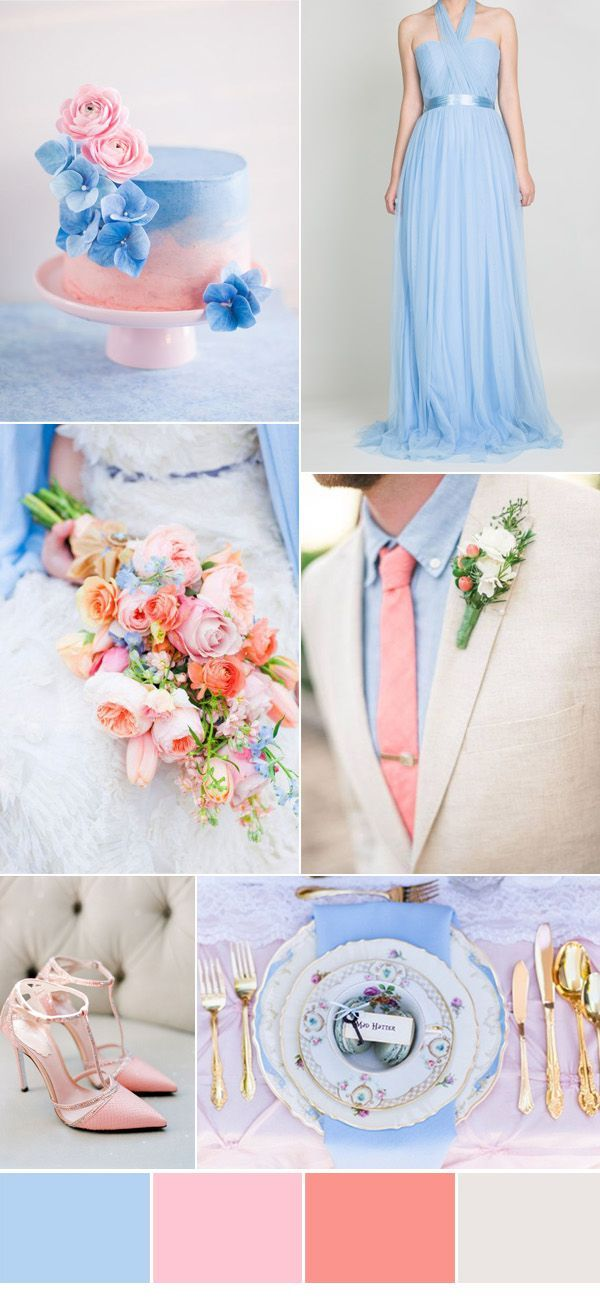 periwinkle and pink wedding color ideas and beautiful bridesmaid dresses