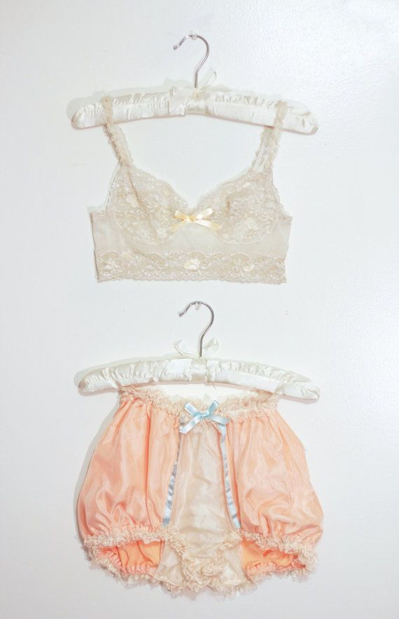vintage french handmade lace bra and silk knicker set