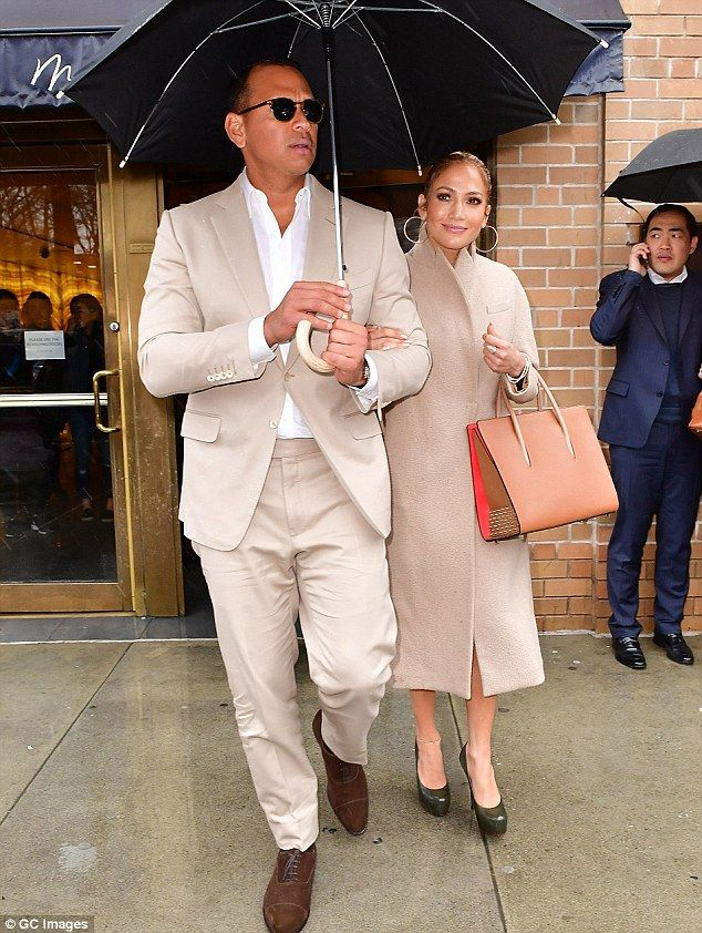 Matchy-matchy: Jennifer Lopez and Alex Rodriguez dressed in coordinating outfits on Friday as they left a restaurant in New York