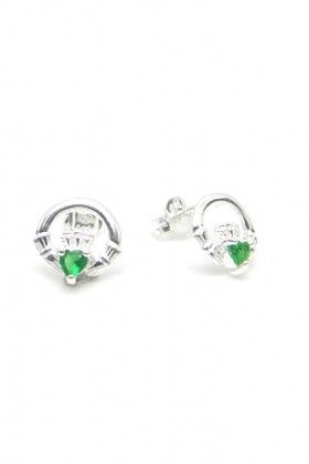 Sterling Silver Emerald Claddagh Stud Earrings sterling silver made in Ireland