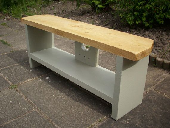 Slimline rustic oak solid wood Plasma LCD TV stand unit french gray base on Etsy, $138.51