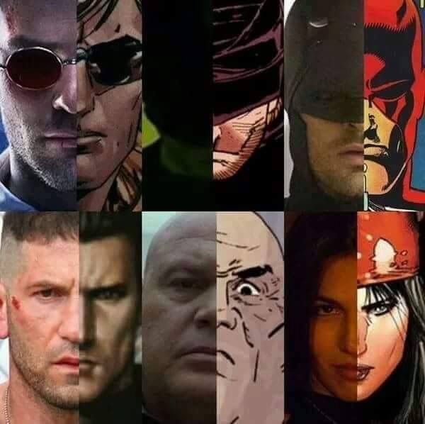 #Marvel:Daredevil  Matt,Daredevil,Punisher,Frisk & Elektra  The Daredevil characters from the show compared to the comics