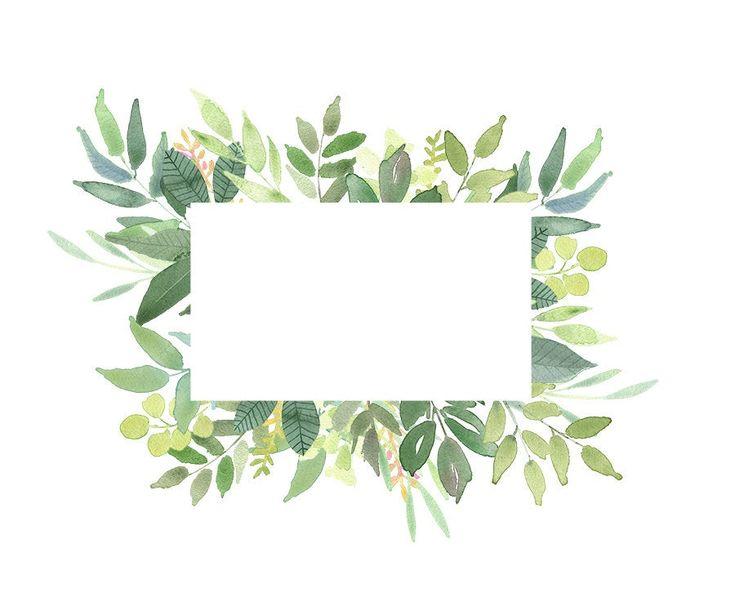 Green leaves frames foliage clipart greenery wedding