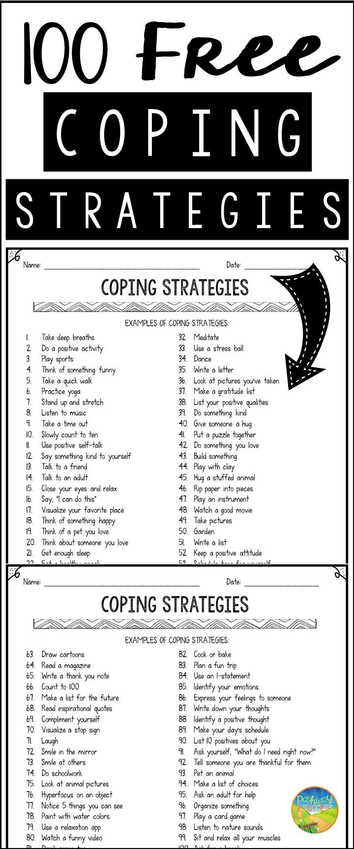 worksheet Therapy Worksheets For Kids 70 best therapy images on pinterest cognitive stress management worksheets infographic 100 free coping strategies for anxiety a