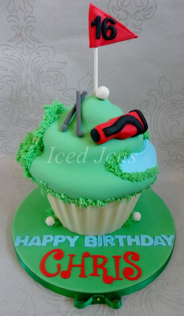 Golfing themed giant cupcake