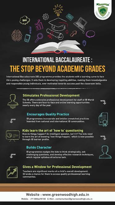 The International Baccalaureate Diploma Programme (IBDP) certification gives you the chance to pursue higher education. The IBDP is a balanced programme and teaches students many things. The infographic highlights the benefits of IB curriculum. To know more about IB curriculum, visit Greenwood High International School's IB page:  http://www.greenwoodhigh.edu.in/international-baccalaureate-ib.html
