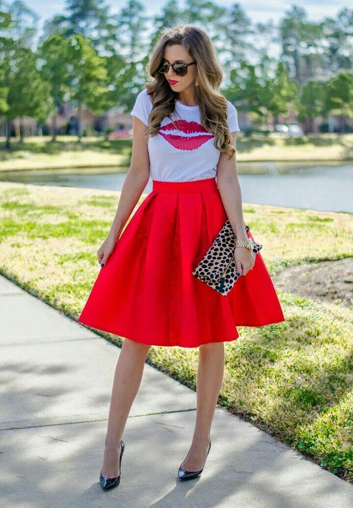 for the love of fancy wearing tj designs lips tee midi skirt such a perfect valentines day look