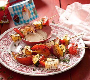 Spicy groenten-fetaspiesje Gourmetrecept - Recept - Jumbo Supermarkten