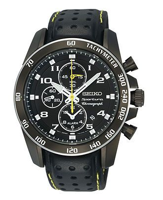 Seiko Watch, Men's Chronograph Black Perforated Leather Strap 42mm SNAE67 - All Watches - Jewelry & Watches - Macy's