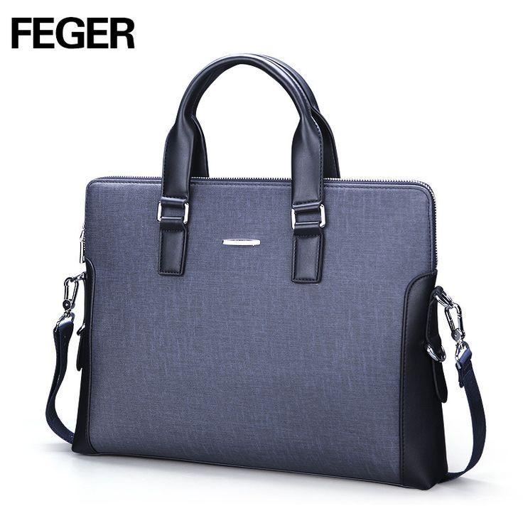 FEGER Fashion Laptop Handbag Shoulder Men Bag Business Messenger Bag PVC Portable Handbag