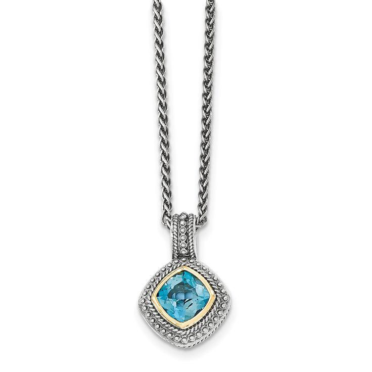 Sterling Silver w/14k London Blue Topaz Necklace QTC1353