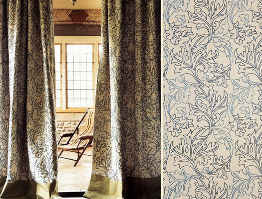 William Morris 'Acanthus Embroidery' curtains - contemporary adaptation of the original 1875 Acanthus wallpaper.
