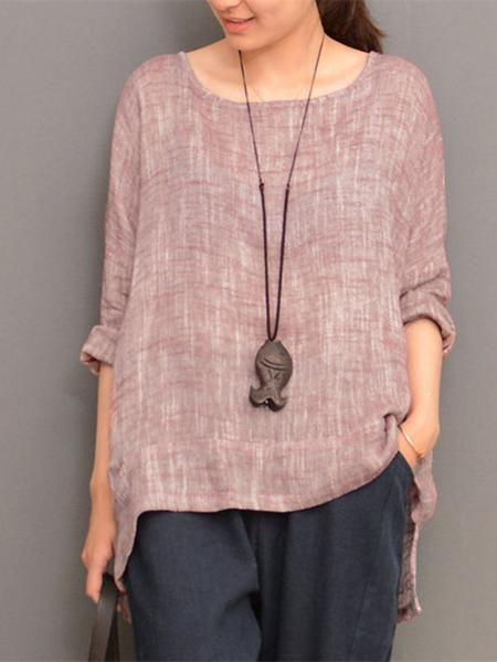 5196f2e9d41 Irregular Hem Long Sleeve O-neck Loose Women T-shirts   Shopping ...