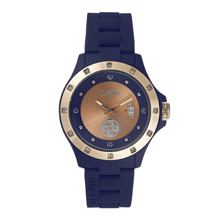 Oxette Deep Blue Pop Watch - Available here http://www.oxette.gr/rologia/s.steel-rose-gold-plated-pop-dark-blue-watch-649l-1/    #oxette #OXETTEtimewear #OXETTEwatch #watches