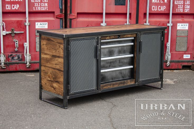 The Manhattan Industrial Buffet is the perfect sideboard, buffet, server station, or entertainment console. It is made from reclaimed pine, with steel drawers, perforated steel doors, and a fully welded steel frame. It has plenty of storage for your liquor, fine china, knick knacks, and it even has locking drawers to secure your valuables.