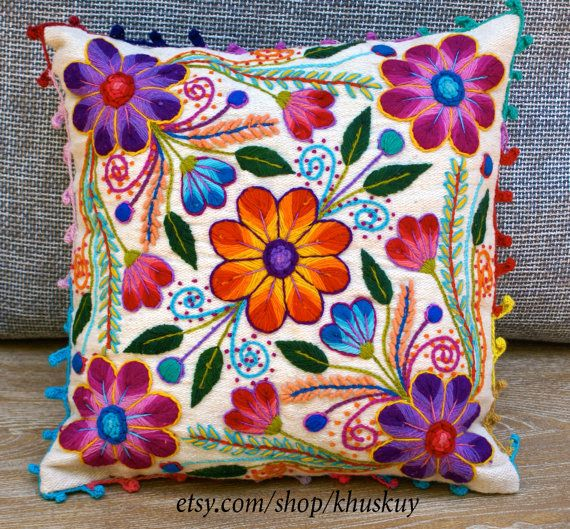 Peruvian embroidered pillow Hand embroidered flowers Sheep & alpaca wool 16…