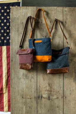 Made by military spouses out of recycled materials: R. Riveter Handbags