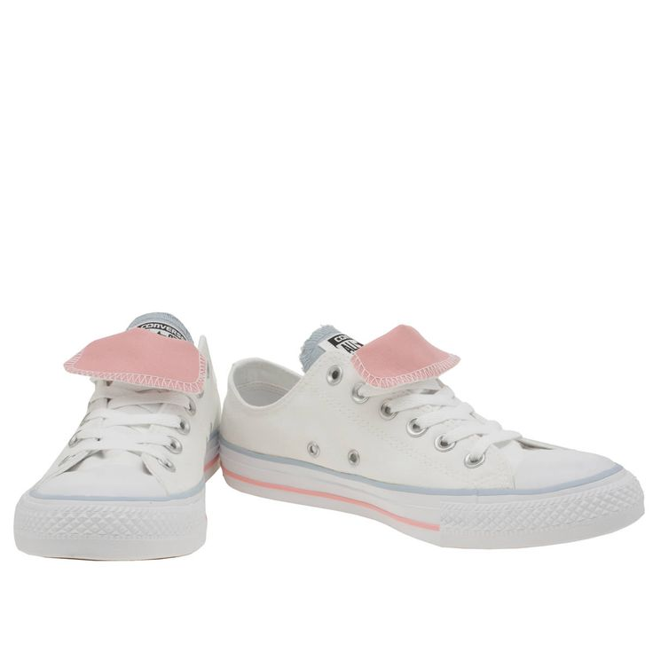womens converse white & pl blue all star double tongue ox trainers