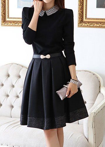 Printed Casual Peter Pan Collar Long Sleeve Dress For Women