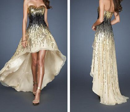 LF 18591 Sweetheart Short Front Long Back Sparkle Gold and Black Sequin Evening Prom Dresses Party Gown 2013