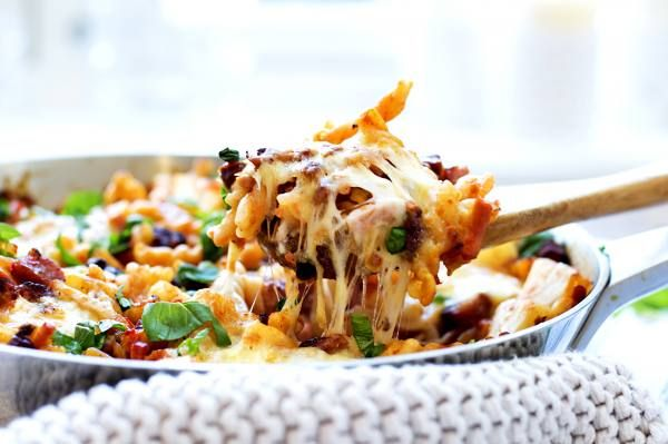 one pot middag med pasta, bacon og skinke 3