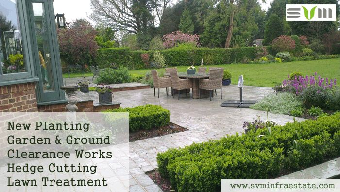 Svm Infraestate provides a wide range of professional Horticultural Services to home owners, property managers, garden designers and other individuals with horticultural requirements.  We are proud to have built a reputation on reliability and quality and have a customer base that trust us to keep their gardens and grounds looking their best.  New Planting Garden & Ground Clearance Works Hedge Cutting Lawn Treatment Fencing http://svminfraestate.com/