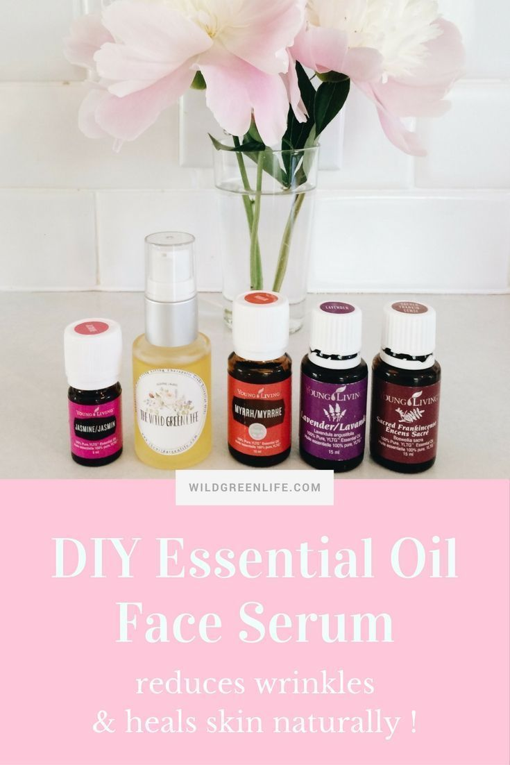 DIY essential oil face serum with young living essential oils. Reduces wrinkles and heals skin naturally! Click through to read more, or pin to save for later!