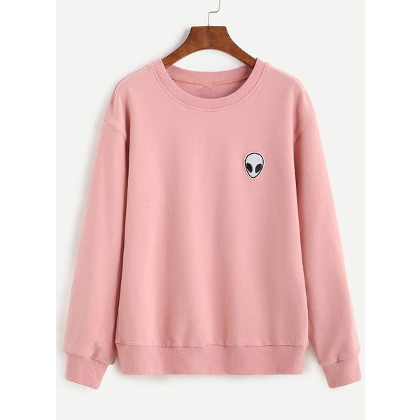 6b1f9459cfc SheIn(sheinside) Pink Drop Shoulder Sweatshirt With Alien Patch (325 MXN) ❤